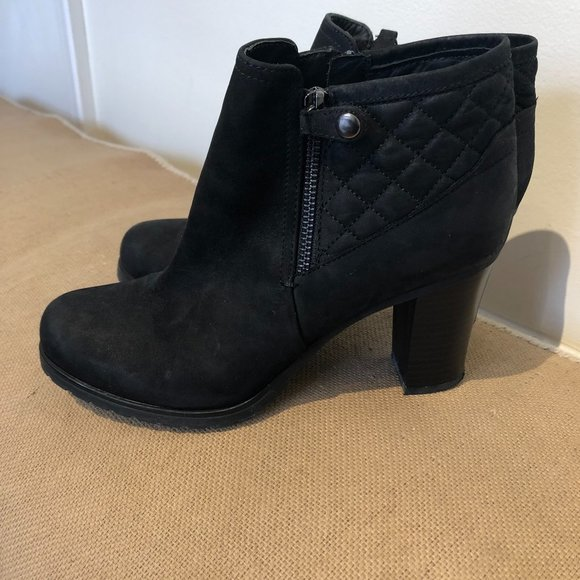 GEOX Respira Black Suede Ankle Boots, Sz 38